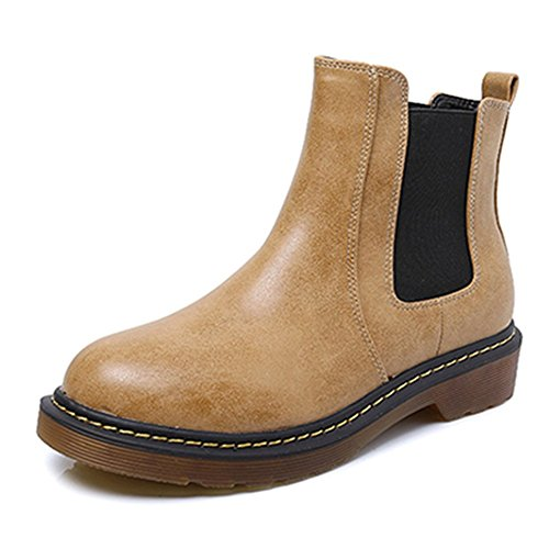 KALENDS Vintage Fur Lining Winter Genuine Leather Ankle Boots Plus Size Shoes Brown AcmKx