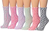 Tipi Toe Women's 6-Pairs Patterned & Solid Anti-Skid Soft Fuzzy Crew Socks (Cozzy Bubbles)