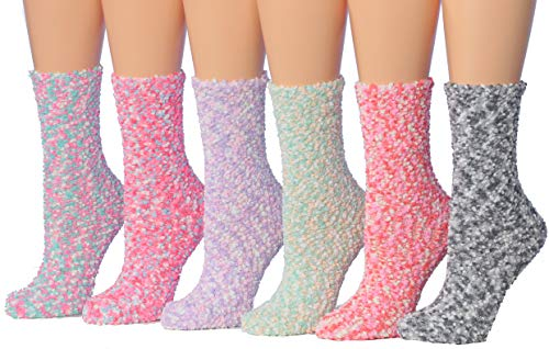 Tipi Toe Women's 6-Pairs Patterned & Solid Anti-Skid Soft Fuzzy Crew Socks FZ20 (Best Fuzzy Socks Brand)