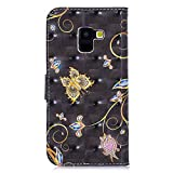 Yobby Flip Wallet Case for Samsung Galaxy A8 2018,Retro Slim PU Leather Case with 3D Colorful Printed Design Card Holder and Stand Shockproof Cover-Blue Butterfly
