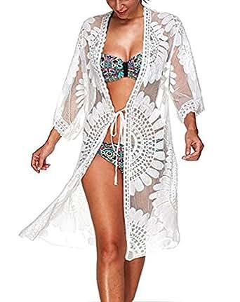 Bestyou Women's Lace Floral Kimono Cardigan Swimwear Cover Up Beachwear US XS-L (White B)