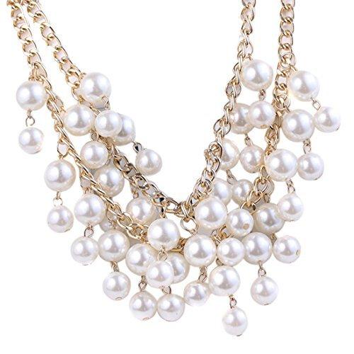 Elegant Women's Multi-Row Torsade Fringe White Pearl Bead Chain Bib ()