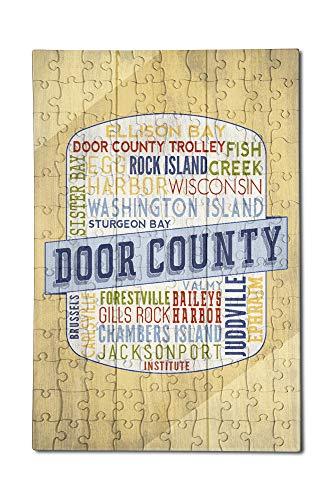 (Door County, Wisconsin - Door County Trolley - Rustic Typography - Contour 98341 (12x18 Premium Acrylic Puzzle, 130 Pieces))