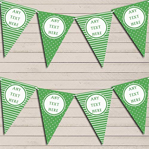 Stripes & Polka Dot Green Personalized Birthday Bunting Garland Banner Decoration