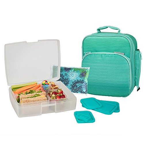 Bentology Lunch Bag and Box Set for Girls - Includes Insulated Bag with Handle, Bento Box, 5 Containers and Ice Pack - Turquoise by Bentology