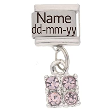 Personalised JULY Birthstone Dangle Name & Date Charm - fits Nomination Classic uvPrqQjf1e