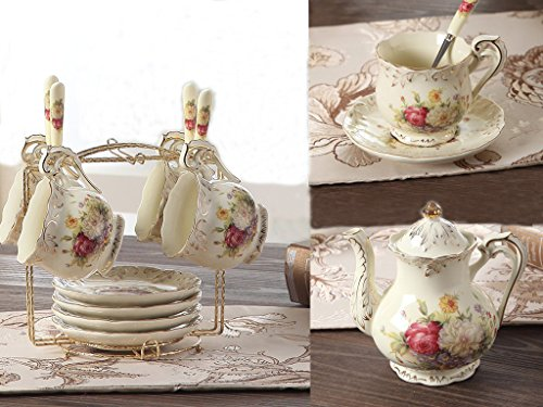 ufengke 9 Pieces Creative European Luxury Hand Painted Red And Gold Flower Ivory Porcelain Ceramic Coffee Set Tea Set Tea Service (Cup Flower Pot Coffee)