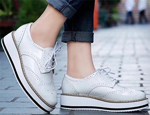 Kvinnor Oxford Skor, Satuki Tillfällig Plattform Snörning Låg Klack Klänning Sko Vit