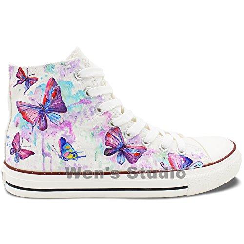 Wen Conception Originale Coloré Papillon Peint À La Main Chaussures Espadrilles En Toile Unisexe