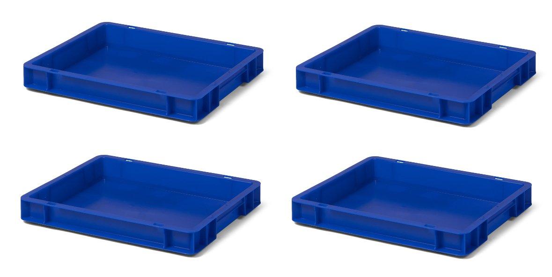 4 Stk. Transport-Stapelkasten TK450-0, blau, 400x300x50 mm (LxBxH), aus PP, Volumen: 4 Liter, Traglast: 20 kg, lebensmittelecht, made in Germany, Industriequalitä t 1a-Topstore