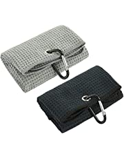 CM Pack of 2 Golf Towels with Microfiber Waffle Pattern Tri-fold Golf Club Cleaning Towel with Heavy Duty Carabiner Clip for Golf Club Ball Cleaner
