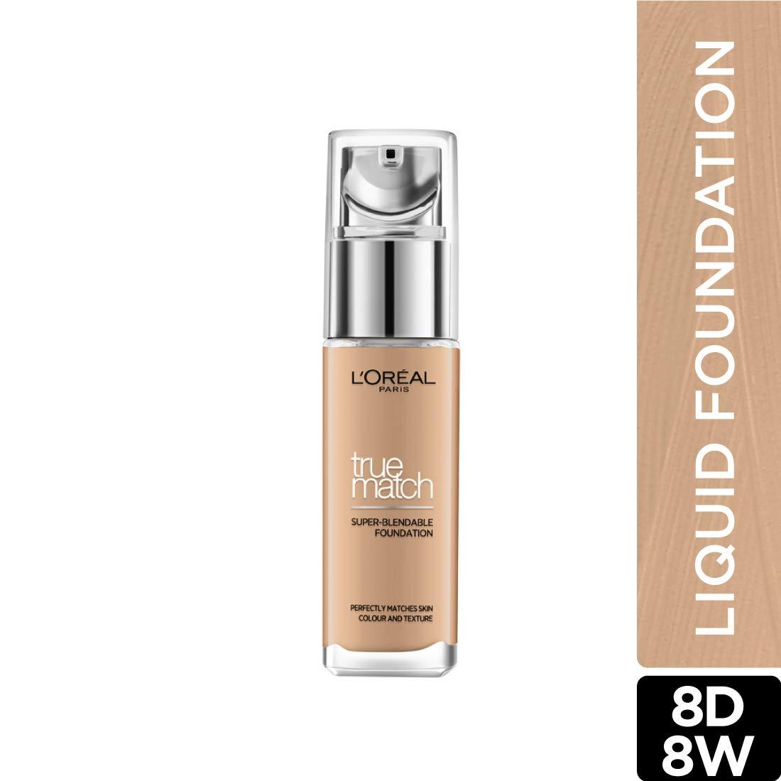 L'Oreal Paris True Match Super Blendable Liquid Foundation Golden  Cappuccino 8D8W, 30ml