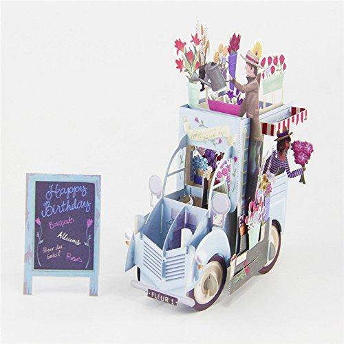 3D pop up Birthday Card Flower Car 3D Card Pop up for Birthday Greeting Card (Cards Cars Greeting)