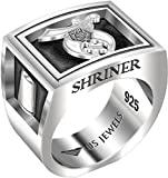Men's Heavy 0.925 Sterling Silver Freemason Shriner Ring Band, Size 11