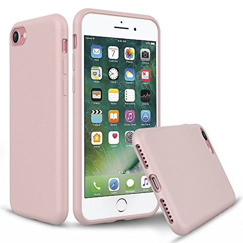 iPhone 8 Silicone Case, iPhone 7 Silicone Case PENJOY Full Body Protection Silicon Cases Support Wireless Charging Slim Rubber Cover for Apple iPhone 7/iPhone 8, Sand pink from PENJOY