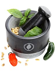 Mortar and Pestle Set – REVERSIBLE – Large Mortar Set with FREE Silicone Lid/Mat and Spoon [5.5 Inch, 15 Oz]