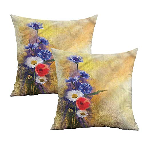 (Khaki home Flower Square Pillowcase Covers with Zipper Poppy Chamomile Spring Square Travel Pillowcase Cushion Cases Pillowcases for Sofa Bedroom Car W 16