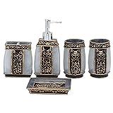 Creative Bath Ensemble, 5 Piece Bathroom Accessories Set, Collection Bath Set Features Soap Dispenser, Toothbrush Holder, Tumbler, & Soap Dish- Silver