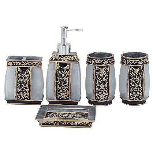 LUANT Creative Bath Ensemble, 5 Piece Bathroom Accessories Set, Collection Bath Set Features Soap Dispenser, Toothbrush Holder, Tumbler, Soap Dish- Silver