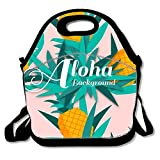 Pineapples And Leaves Background Polyester Lunch Box Fashion Lunch Bag For Boys