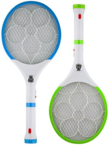 Wubebe Electric Bug Zapper/Insect Swatter With Rechargable Battery, Handle light, and Removable Flashlight for Indoor and Outdoor Use (2-Pack) (Blue / Green) by Wubebe