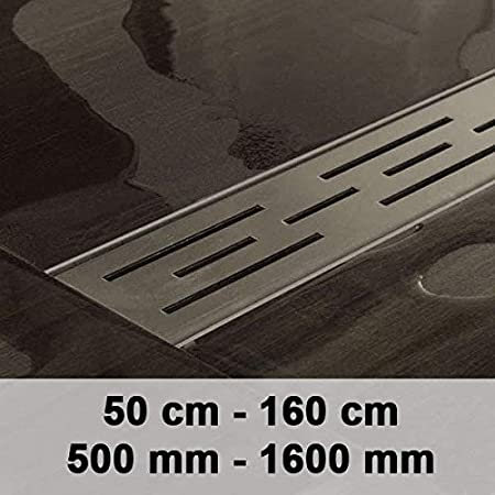 CLP Caniveau pour é coulement de Douche Enya en Acier Inoxydable, Siphon Inclus, Siphon de Douche, 9 Tailles au Choix Acier Inoxydable, 1000mm / 100 cm