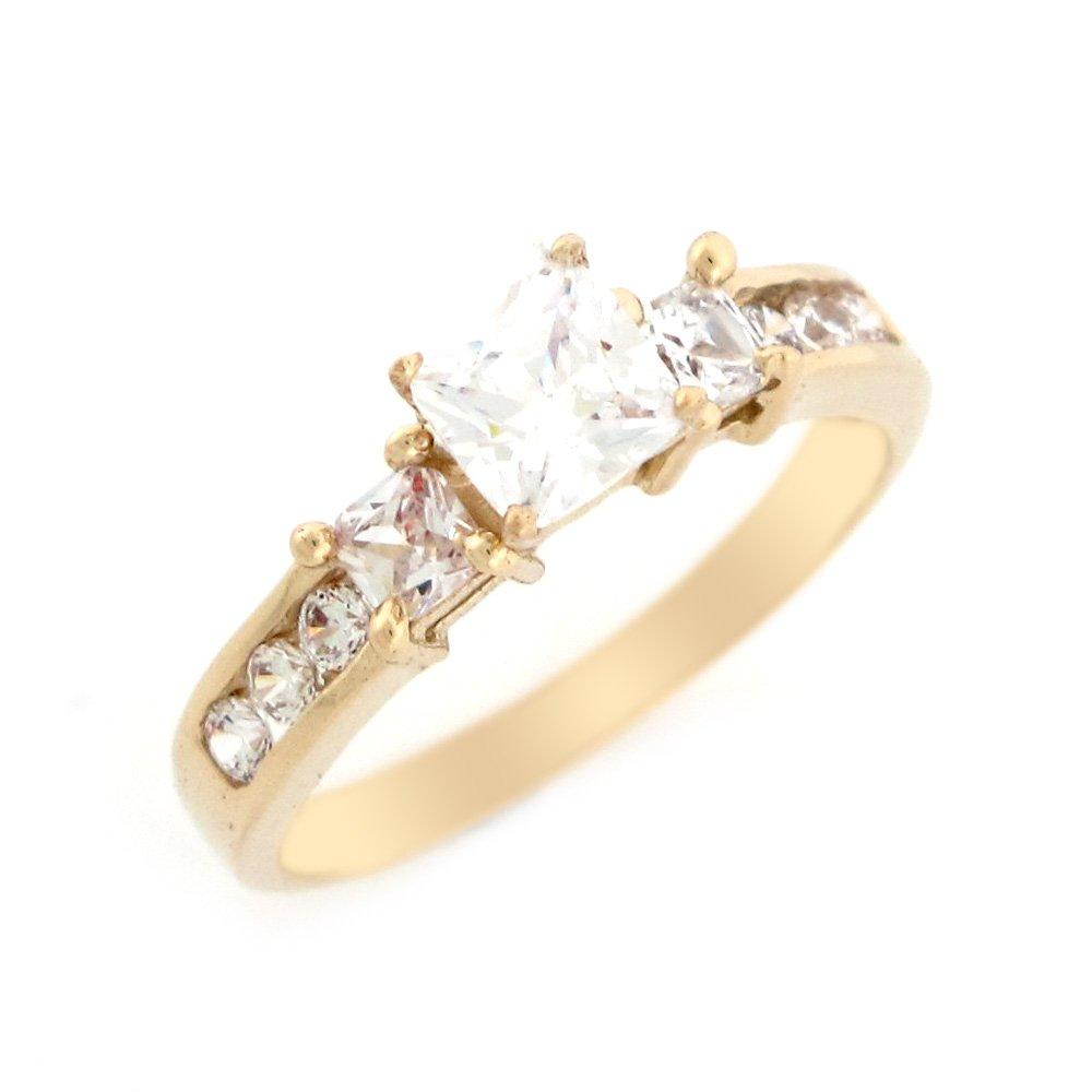 14k Yellow Gold White CZ Stylish Design Ladies Wedding Anniversary Ring