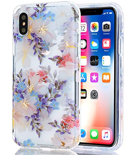 BAISRKE iPhone Xs Case, iPhone X Case Clear with Purple Floral Pattern [Fusion] Hard PC Back Soft TPU Bumper Raised Edge Drop Protection Cover for Apple iPhone X/iPhone Xs 5.8