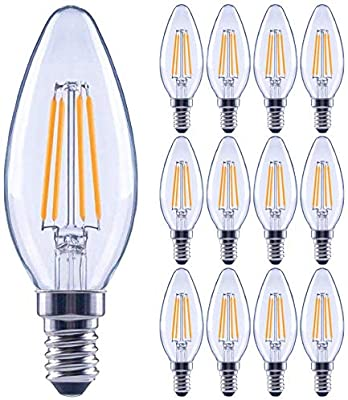 12 Pack 60 Watt Equivalent Led E12 Candelabra Base B11 Dimmable Clear Filament Vintage Style Light Bulb 2700k Warm White Decorative 60w Led Chandelier Ceiling Fan Bulbs Amazon Com
