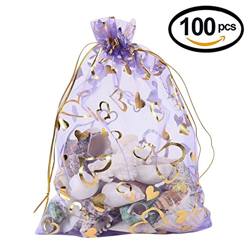 - Wuligirl 100pcs Drawstring Organza Bags 4x6'' Lavender Love Storage Jewelry Candy Pouches Chocolate Seashell Wedding Party Favor Easter Gift Bags for Women (Lavender Love)