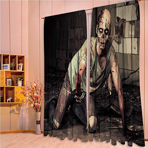 (Bedroom Decor Collection Window Curtains for living room 2 Panels,Zombie Decor,Halloween Scary Dead Man in Old Building with Bloody Head Nightmare Theme,Grey Mint Peach,108.3