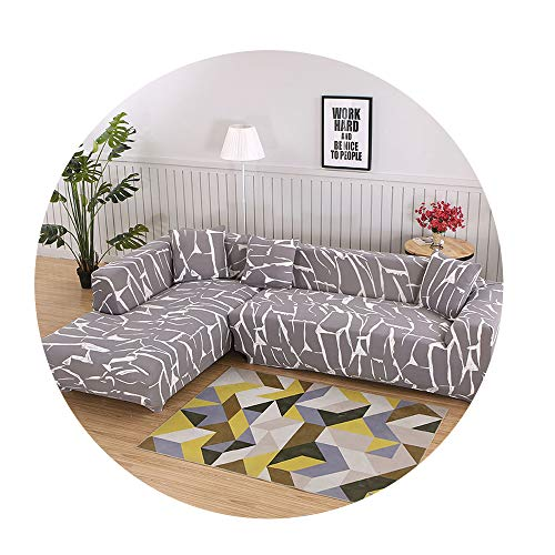 ZFADDS New Elastic Sofa Cover Cotton Covers for L-Shape Corner Sectional Sofa Cover for Living Room,Color 13,Pillow Case-2Pcs (Furniture Nz Outdoor Covers)
