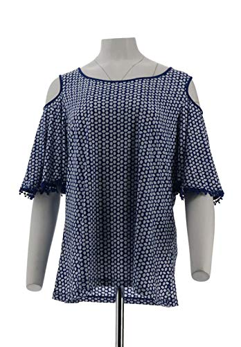 Susan Graver Printed Liquid Knit Cold-Shoulder Top Dusk Blue L New A304056