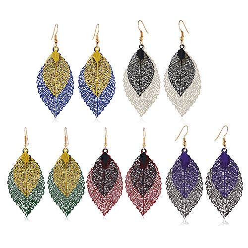 FAUOI Leaf Earrings Set for Women Long Filigree Leaf Drop Dangle Earrings Jewelry Set for Women Girls