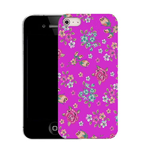 Mobile Case Mate IPhone 4 clip on Silicone Coque couverture case cover Pare-chocs + STYLET - purple blossoming floral pattern (SILICON)