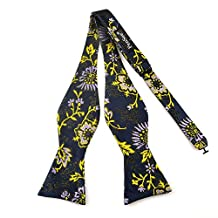 PenSee Mens Self Bow Tie Modern Floral Woven Silk Bow Ties-Various Colors