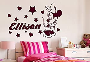 Minnie Mouse Wall Decals Girl Personalized Name Decal Vinyl Star Heart Baby  Room Kids Nursery Stickers Childrenu0027s Decor Art Mural SM76