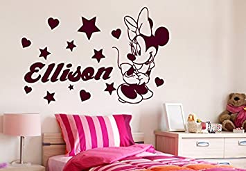 Charming Minnie Mouse Wall Decals Girl Personalized Name Decal Vinyl Star Heart Baby  Room Kids Nursery Stickers