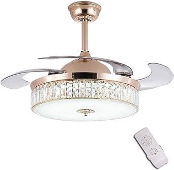 Luz del ventilador de techo, Salon Dormitorio lámpara de techo, Moderno Ventilador de techo luz con LED incorporado y mando a distancia, 4 aspas Reversibles, 3 colores, 107cm/42 Función Invierno: Amazon.es: Iluminación