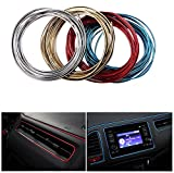 Geekercity 5 Meters 3D DIY Automobile Car Motor Interior Exterior Decoration Moulding Trim Line Strips Sticker Accessories Car Door Dashboard Airvent Steering-wheel Styling Decorative Thread (Red)