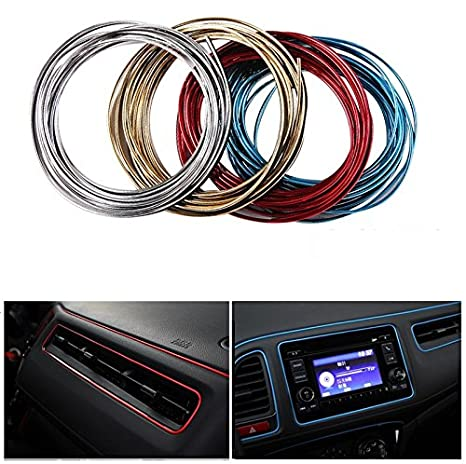 Geekercity 5 Meters 3D DIY Automobile Car Motor Interior Exterior Decoration Moulding Trim Line Strips Sticker Accessories Car Door Dashboard Airvent Steering-wheel Styling Decorative Thread (Silver)