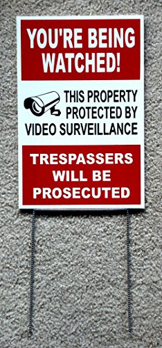 Custom Coroplast Yard Signs - 1Pc Satisfying Modern Security Yard Signs Video Coroplast Warning Alarm Lawn Being Watched Decal Size 8