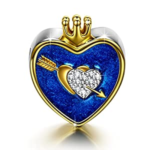 NINAQUEEN The Arrow Of Love 925 Sterling Silver Gold Plated Heart Shape Princess/Queen Crown I Love You Navy Enamel Bead Charms with 5A Cubic Zirconias
