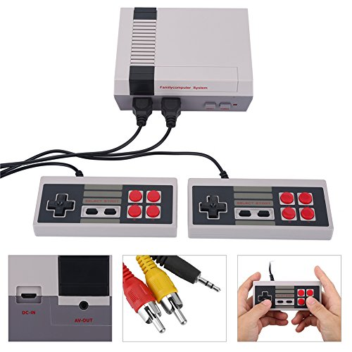 Fosa Dual Joystick Game Console Entertainment System Built-in 500 Classic Games HD AV Output(White)