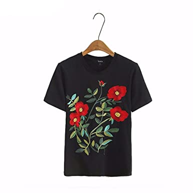 Virtual Store USA women sweet floral embroidery T shirt o neck short sleeve black tees ladies