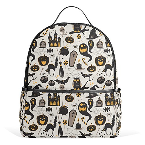 Fashion School Backpacks Vintage Halloween Owl Bat Tomb Cat Lightweight Shoulder Bags Cute Creative Printed Backpack for Teenage Girls,
