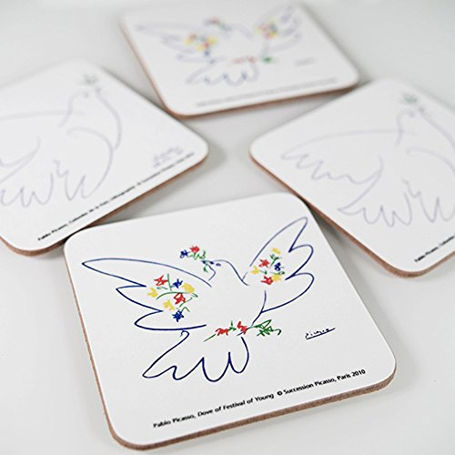 Melamine Coasters (Picasso – Set of 4 Coasters – Melamine - Doves of Peace (1949))