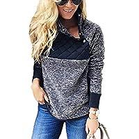 OURS Women's Oblique Button Neck Patchwork Fleece Pullover Coat Sweatshirts Outwear