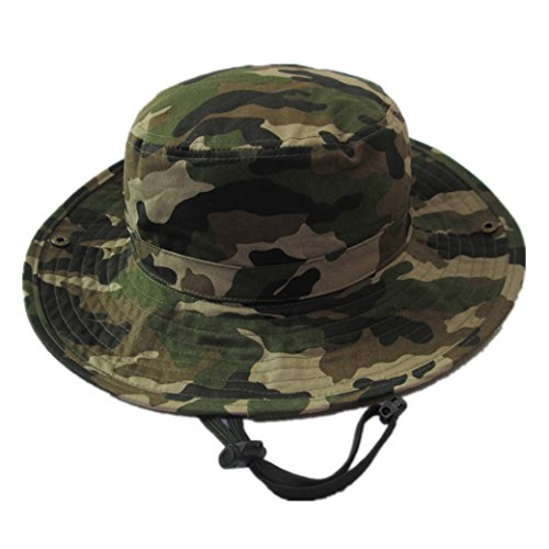 Happy Cherry Baby Summer Camouflage Bucket Hats With Chin Straps Side Button Size 51cm,Light Camo,2-3YRS(20.07