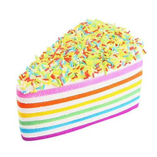 Allywit Squishy Rainbow Cake Bread Phone Straps Slow Rising Bun Charms Gifts Toys (yellow)